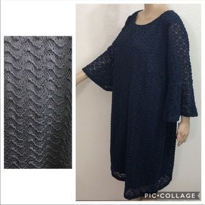 🆕 Sharagano Navy Bell Sleeve Lace Overlay Dress